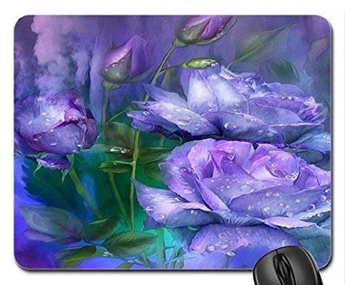 (Precision Seamed) Mouse mat Gaming Mouse pad Rain Drop on Lavender Roses Mouse Pad, Mousepad (Rose Mouse Pad)
