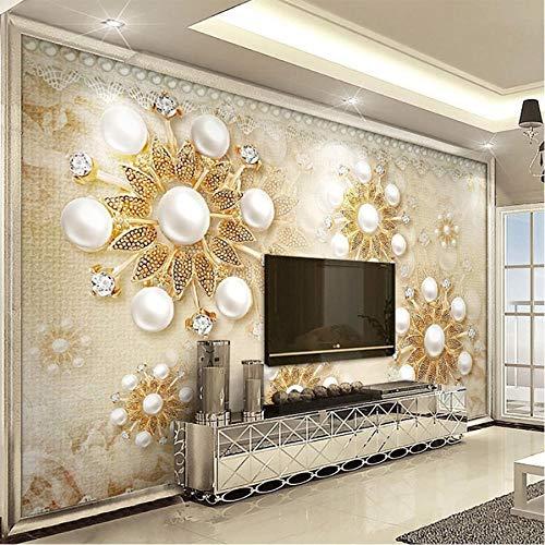 Ponana Foto Wallpaper Luxus Golden Pearl Lace 3D Wallpaper Wohnzimmer Hotel Hintergrund Wandtuch Wasserdichtes Wandtuch Home Decor-250X175Cm