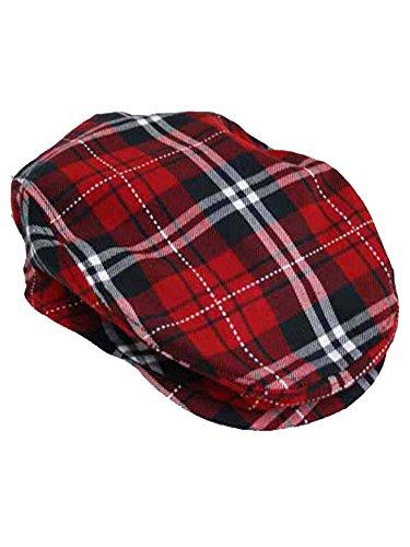 Red Plaid Snap Front Newsboy Golf Flat Ivy Cap Hat