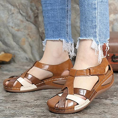 DIZHIGE Womens Orthopedic Casual Platform Sandal, Wedge Sandals, Arch Support Slipper, Comfy Chic Slope Wedge Platform Hook and Loop Gladiator Outdoor Casual Sandal Shoes (Brown,5.5)
