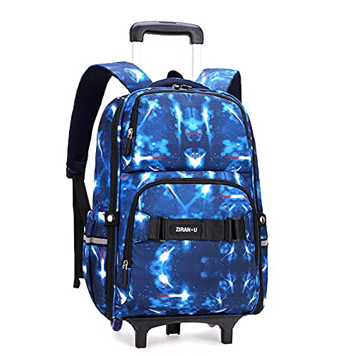 JKHN Mochila para niños con ruedas multifunción extraíble para niños de 6 a 12 años de edad, color azul, dos ruedas