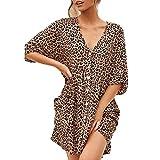 Sylar Vestidos Camiseros Mujer, Vestidos Mujer Casual Verano Cortos Estampado Leopardo Vestidos Playa Mujer Tallas Grandes con Cuello En V Mini Vestidos De Fiesta Cortos De Noche Media Manga(s-5xl)