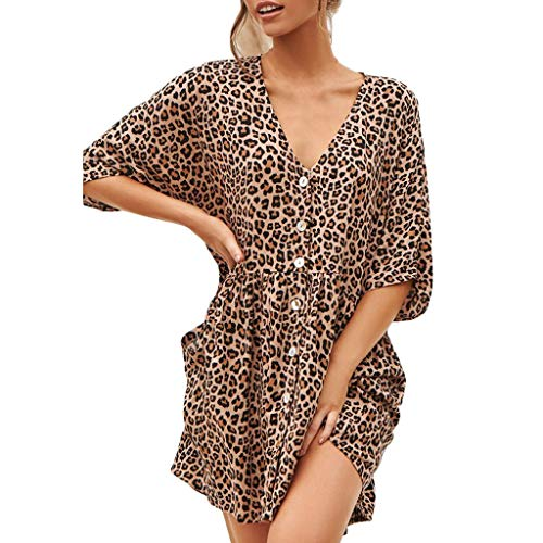 Dasongff Damen Sexy Leopard Kleider Minikleid V-Ausschnitt Dress Button Blusenkleid Lose Casual Tshirt Kleid
