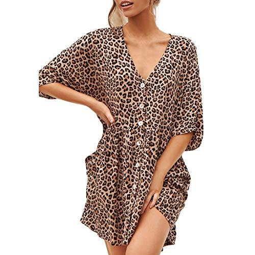 Amphia Langarm Sommerkleid Casual Kleid A Linie Minikleid Elegant Kleider Knielang Strandkleider Lose Shirtkleid (Schwarz, M)