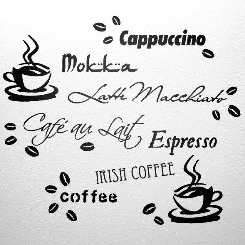 WANDfee Wandtattoo Küche Kaffee Spruch Kaffeetasse Kaffeebohnen Wandsticker Coffee Cafe Wandaufkleber schwarz