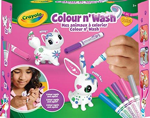 CRAYOLA Color'N'Wash pets-Mes Animaux à Colorier-kit Lapin et chat, 74-7264-F-000