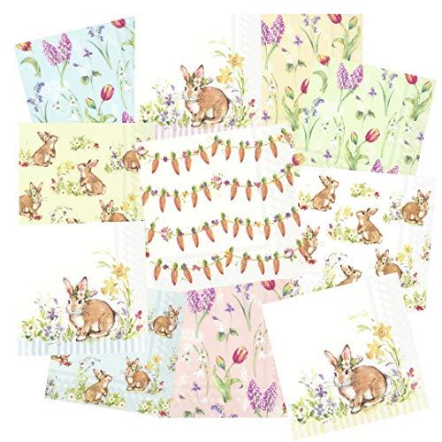 Tigers on the Loose – Tovaglioli per decoupage, confezione da 22 pezzi, 3 strati, 33 x 33 cm (2 tovaglioli ciascuno di 11 diversi disegni) – Sweet Lovely Bunnies
