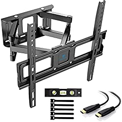 PERLESMITH Supporto da parete per TV, orientabile e inclinabile, per TV o monitor da 32-55 pollici, fino a 45 kg, VESA 400 x 400 mm