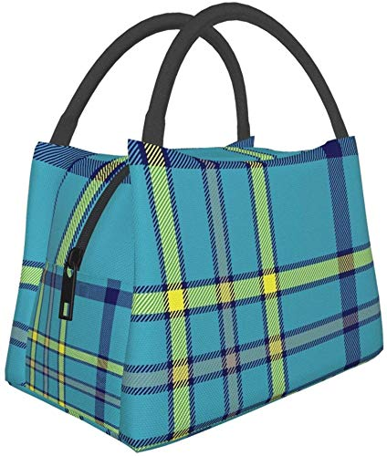 Bolsa de almuerzo reutilizable con aislamiento, bandera antigua de Alaska, tartán, duradera, bolsa...