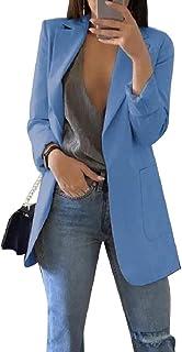 Mogogo Women's Notch Collar Classics Regular Slant Pocket Slim Outwear