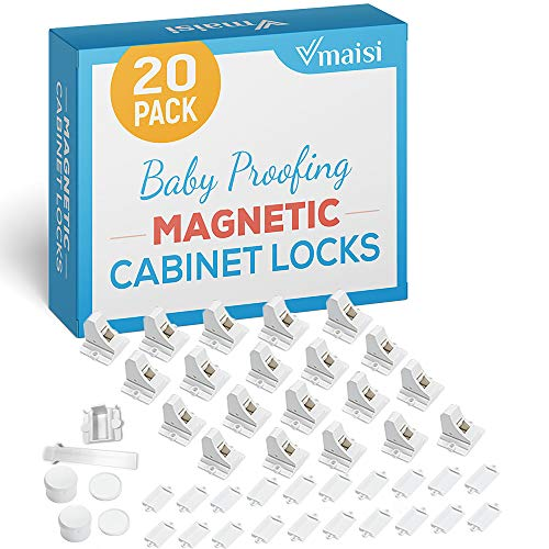20 Pack Magnetic Cabinet Locks Baby Proofing  Vmaisi Children Proof Cupboard Drawers Latches  Adhesive Easy Installation