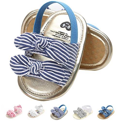 Sandalias para bebé y niñas con suela de goma para los primeros pasos al aire libre calzado de verano, Blanco