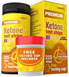 Ketone Urine Testing Kit (225 STRIPS + FREE TESTING CUP) Test Ketosis Levels on Low Carb Ketogenic and Atkins Diet Urinalysis Tester Instant and Accurate Measurements