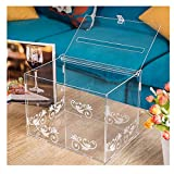 Card Box With Lock and Key Acrylic (Clear) 11 88FoldableWhite Pattern