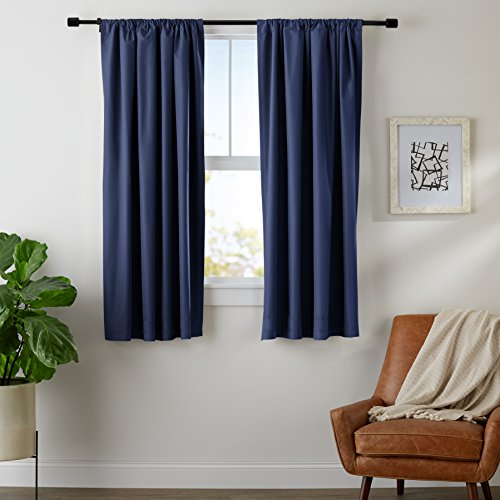 AmazonBasics Room Darkening Blackout Window Panel Curtains - Pack of 2, 52 x 63 Inch, Navy Blue