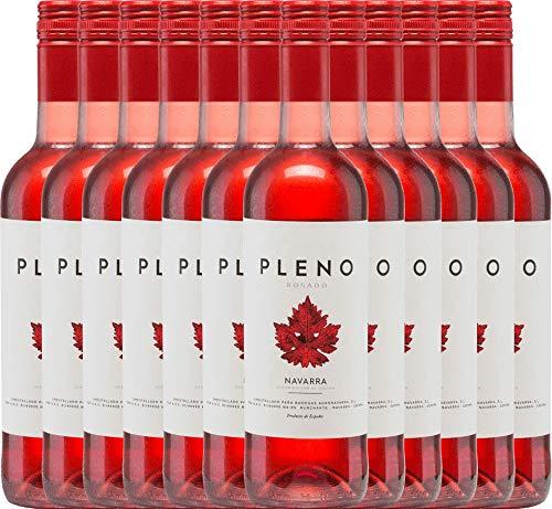 VINELLO 12er Weinpaket Rosé - Pleno Rosado DO 2019 - Bodegas Agronavarra mit Weinausgießer | trockener Roséwein | spanischer Sommerwein aus Aragonien | 12 x 0,75 Liter