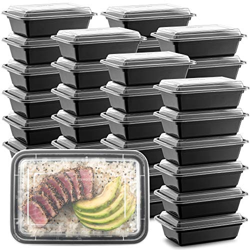 50-Pack Meal Prep Plastic Microwavable Food Containers meal prepping & Lids.{24 OZ.} Black Rectangular Reusable Storage Lunch Boxes -BPA-free Food Grade- Freezer Dishwasher Safe -PREMIUM QUALITY