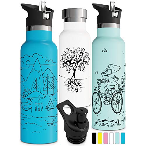 Double Insulated Water Bottle BPA Free Straw Lid Sports Cap Stainless Steel Eco Friendly Non Sweat Durable Finish 17oz 500ml Metal Hydro Thermos (17 oz, White)