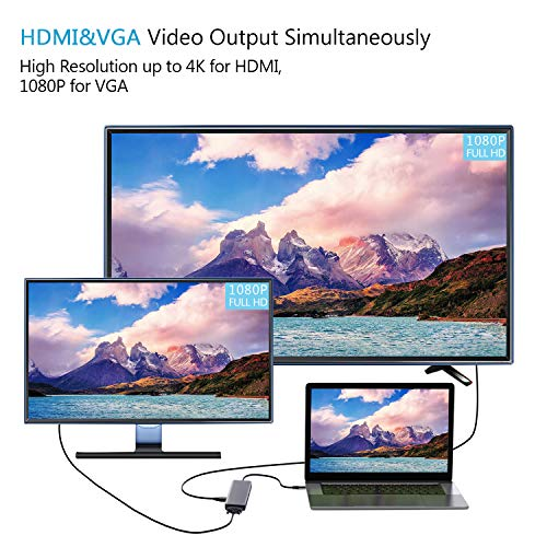 zedela USB C Hub, 9 in 1 DUAL-Anzeige USB C Adapter mit HDMI,VGA, SD/Micro SD-Kartenleser, Typ C PD,Audio, USB 3.0 Anschlüsse für MacBook Pro/Air, Chromebook, Samsung S10, Huawei Mate 10/P30 usw