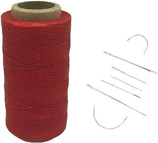Yulakes 260 Meter 1mm Leder gewachst Wachs Thread Cord Ledergarn Nähen Handwerk Mit 7pcs lederne nähende Nadeln rote