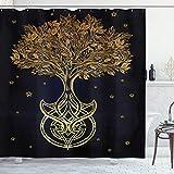 ABAKUHAUS Baum des Lebens Duschvorhang, Nachtstern Abstrakt, Leicht zu pflegener Stoff mit 12 Haken Wasserdicht Farbfest Bakterie Resistent, 175 x 200 cm, Dunkelblau Gelb
