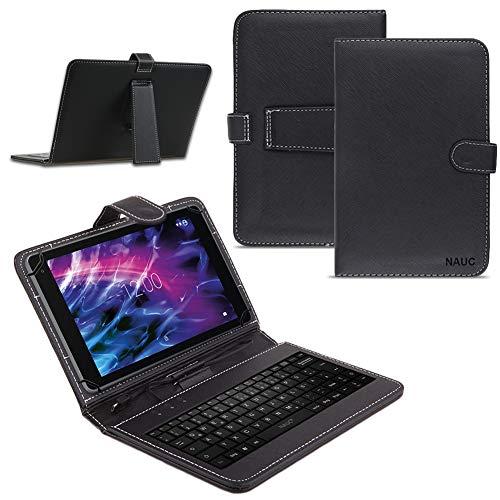 Medion Lifetab E10430 E10604 E10412 E10511 E10513 E10501 Tablet Tasche USB Tastatur Keyboard Hülle Cover QWERTZ Standfunktion Micro USB Schutzhülle