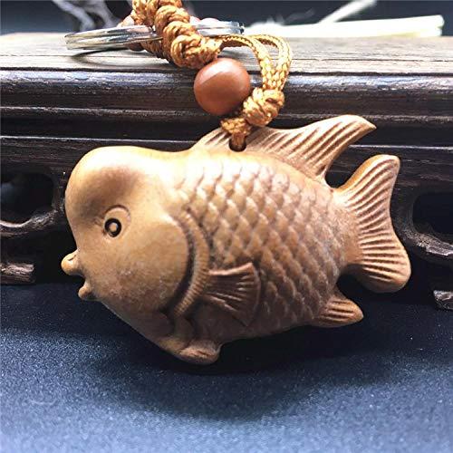 Holzschnitzerei, Pfirsichholz, Ruyi Fisch, Glücksbringer, Fisch Schlüsselanhänger, kleiner Fisch Schlüsselanhänger, Auto Anhänger, Dekoration