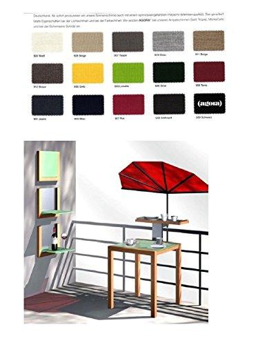 MITTELBLAUER revêtement en tEFLON-fächerschirm très haute protection uV-pour voyage-oUTDOOR-loisirs-peut également servir de parasol pour balustrades rondes ou rectangulaires d'un diamètre jusqu'à 55–60 mm-balcon fächerschirm-sTABIELO-modèle exclusif holly'sun ® aGORA housse-bleu-zANGENBERG - 140 x 70 cm + holly ® 360° support polyvalent ® gVC 35 eUR) avec gummischutzkappen-innovation fabriqué en allemagne-holly produits sTABIELO ®-holly sunshade-la plus haute protection uV uPF 50