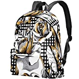 Seamless Pattern with Image Gold Skull and RoseDIY Personalized Custom Pattern, Super Large Capacity, Durable Backpack, Cute Waterproof Laptop Backpack Womens Bag