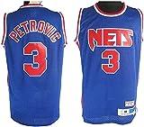 TPPHD Jerseys de Baloncesto de los Hombres, NA Nets # 3 Drazen Petrovic Classic Swingman Jersey, Tejido Transpirable Fresco de la Vendimia Uniforme de Ventilador Unisex Unisex,L