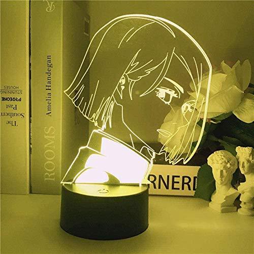 WENJZJ Anime Jujutsu Kaisen Lámpara 3D Kugisaki Nobara LED Luz de Noche para niños Niño Muchacho Decoración Decoración Manga Baloncesto Regalo Desk 16 Color