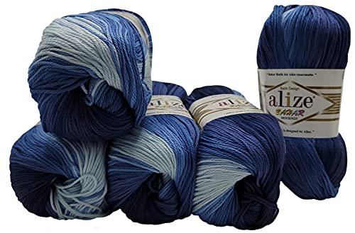Bahar Batik - 5 ovillos de 100 gramos de algodón mercerizado, multicolor, 500 g, 100% algodón...
