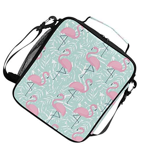 Warme koeler voor picknick verstelbare riem lunchpakket heren schoudergeïsoleerd Pink Flamingo Tropical Stylish
