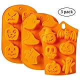 Silicone Baking Molds - 3pc Nonstick Silicone Cake Molds - Muffin Mold with Halloween Pumpkin, Evil, Skull, Ghost - Perfect to Make...