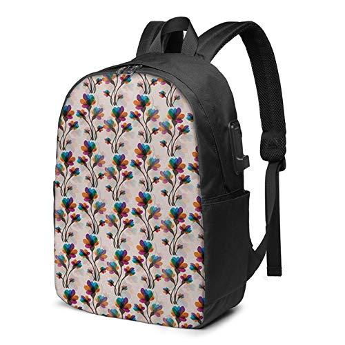 Laptop Backpack with USB Port Floral 238, Business Travel Bag, College School Computer Rucksack Bag for Men Women 17 Inch Laptop Notebook