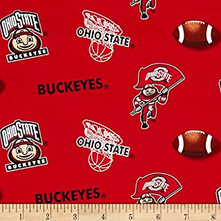 Sykel Enterprises Collegiate Cotton Broadcloth Ohio State University Fabric by The Yard, Multi