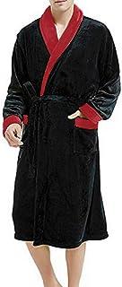 comprar comparacion VJGOAL Albornoz para Hombre Solapa de Manga Larga Invierno Plush Color sólido Bata Tallas Grandes Casual Suave con Bolsill...