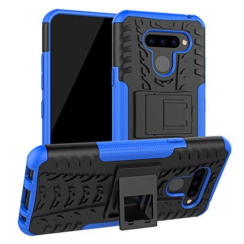 LiuShan LG Q60 / LG K50 Funda, Heavy Duty Silicona Híbrida Rugged Armor Soporte Cáscara de Cubierta Protectora de Doble Capa Caso para LG Q60 / LG K50 Smartphone,Azul