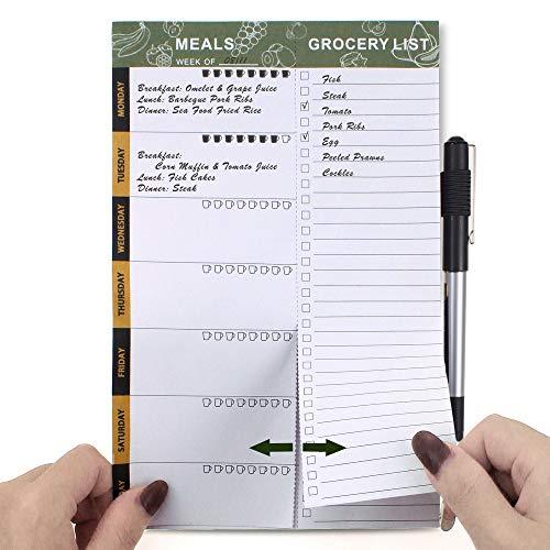 SynLiZy Planificador semanal de comidas planificador de menús magnético con listas de compras de comestibles perforadas de 15 x 23 cm