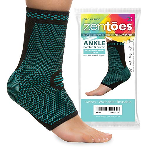 ZenToes Ankle Brace Compression Socks, Pair, Open Toe Sleeves Help Reduce Swelling and Inflammation, Promote Injury Recovery for Achilles Heel, Plantar Fasciitis, Joint Pain (X-Large)