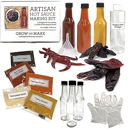 HOMEMADE DIY HOT SAUCE KIT Make 3 Bottles of your own gourmet spicy or mild hot sauce w/ real dried peppers & savory seasonings! Comes with 6 crafted artisan recipes