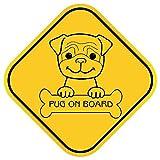 Pegatina para el coche Pug on board