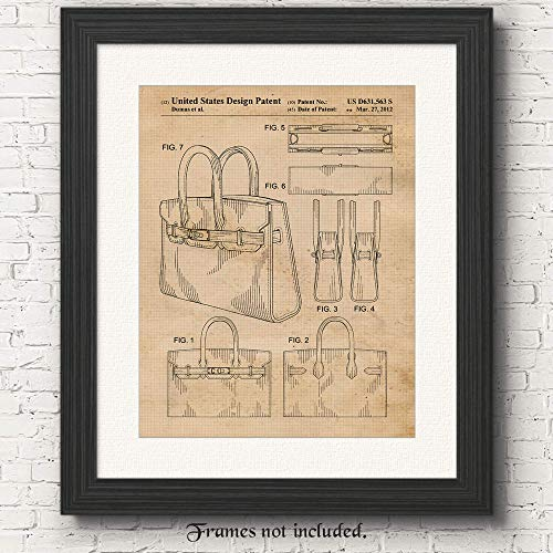 Original Hermes Birkin Bag 2012 Patent Poster Prints, Set of 1 (11x14) Unframed Photo, Wall Art Decor Gifts Under 15 for Home, Office, Designer, College Student, Teacher, Street Fashion & Movies Fan