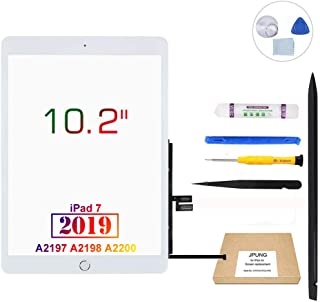 "JPUNG Screen Replacement for iPad 7 2019 7th Gen 10.2"", only for A2197 A2198 A2200, with Home Button, Complete Repair Tools Kit, Camera Holder, Pre-Installed Adhesive - 365 Days Warr"