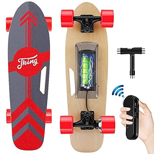 Tooluck - Skateboard elettrico con telecomando senza fili, velocità superiore 20 KM/H, motore da 350 W, portata massima 8 miglia, 7 strati di acero, modalità a 3 velocità per adulti e bambini