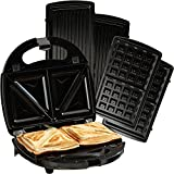 Cooks Professional Sandwich Toaster Panini Maker Waffle Iron Grill 3 in 1 with Non Stick Removable Plates 750W (Sandwich Toaster with Waffle Plates)