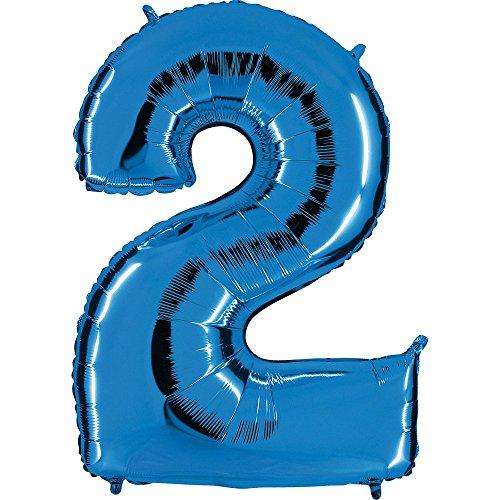 Ballon Zahl in Blau - XXL Riesenzahl 100cm - für Geburtstag Jubiläum & Co - Neun - Party Geschenk Dekoration Folienballon Luftballon Happy Birthday (Zahl 2)