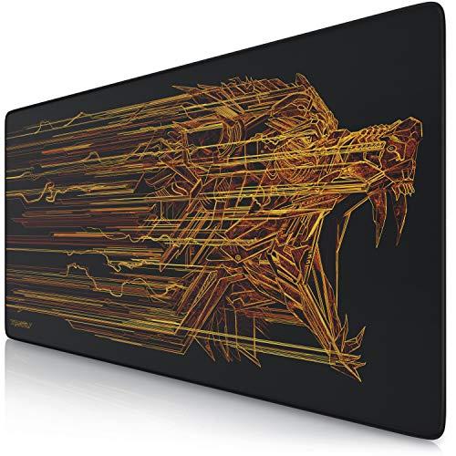 CSL-Computer Titanwolf XXL Speed Gaming Mauspad - 900 x 400 mm - XXL Mousepad - Tischunterlage mit Titanwolf-Motiv - verbessert Präzision und Geschwindigkeit - Stabiler Halt auf glatten Oberflächen