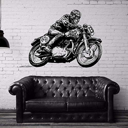 Pegatinas De Pared Pegatina De Carreras De Motos Clásicas Calcomanías De Vehículos Carteles De Vinilo Decoración De Motos De Pared Pegatina Mural Calcomanías De Carreras De Motos 58X83Cm