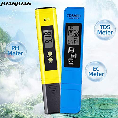 BQSWYD 2Pcs Digital 0.0-14.0 LCD PH Meter Tester Pen 0-9990PPM Digital TDS EC LCD Tester Hohe Genauigkeit 0.1 Lab Wasserreinheit PPM Aquarium Filter